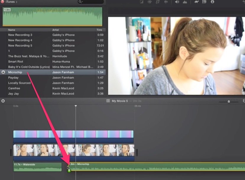 03-drag-and-drop-new-song-clip-from-itunes-library-into-imovie-timeline
