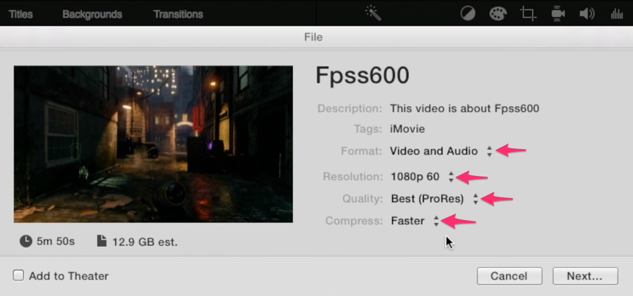 Use 60 fps video in iMovie